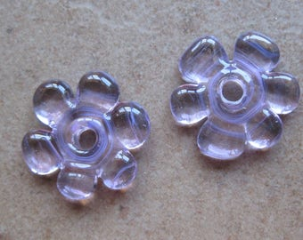 Lampwork Beads - SueBeads - Disc Beads - Disc Flowers - Pink Cut Disc Flower Bead Pair - Handmade Lampwork Beads - SRA M67
