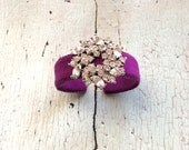 For Sabrina : Violet Ultrasuede and Rhinestone Adjustable Cuff