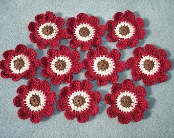 10 crochet applique flowers brown ecru burgundy  -- 2557