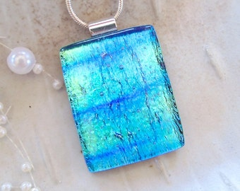 Blue Necklace, Green, Aqua, LARGE, Dichroic Pendant, Fused Glass Jewelry, Necklace Included, A11