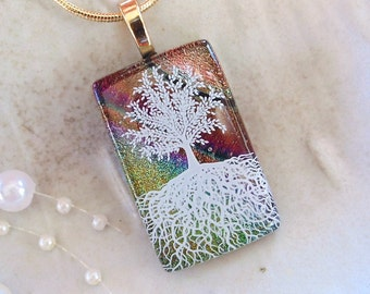 Tree of Life Dichroic Glass Pendant, Necklace, Fused Glass Jewelry, Necklace Included, A13