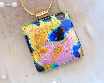 Gold Necklace, Dichroic Fused Glass Pendant, Large, Fused Jewelry, Blue, Purple, Necklace Included, A11