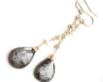 Sale - Save 20% - Rose Cut Silver Grey Sapphire Saltwater Keshi Pearl Linear Dangle Earrings