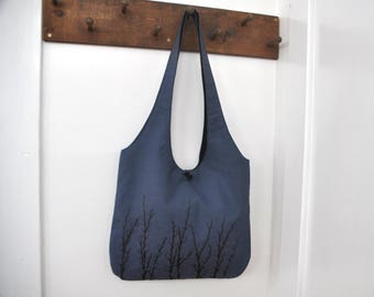 Pussy Willows - Shoulder Bag - Button Closure Hobo Bag in Smokey Blue and Black