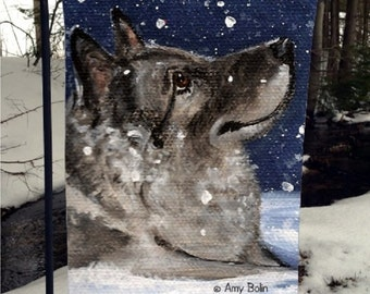 """Norwegian Elkhound """"Senja's Snow Day"""" 12"""" by 18"""" GARDEN FLAG by Amy Bolin"""