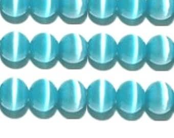 "Cat's Eye Beads, 15"" Strand, Fiber optic beads - Aqua - Choose your size"