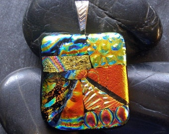 Shades of Orange fused Glass Pendant