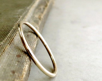 14k gold wedding ring, yellow gold, thin band, Stacker, minimal jewelry
