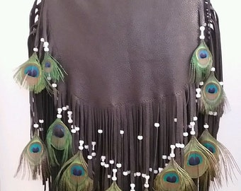 "Leather Purse Handbag Fringed Flap Over Hobo Bag Double Fringe Peacock Feathers Deerskin Purse ""PEACOCK FANCY"" Handmade by Debbie Leather"