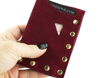 Burgundy Suede Leather Studded Wallet / Business Card Holder