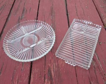 Vintage Glass Serving Plates - Glass Relish Dishes - Indiana Glass Plate - Berwick Boopie Tray