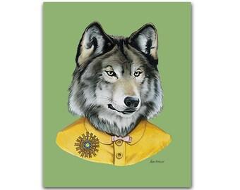 Wolf Lady art print - Modern kid art - Animals in Clothes - Animal Art - Modern Decor - Ryan Berkley Illustration 8x10
