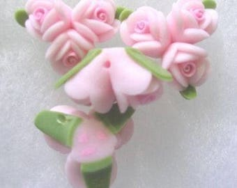 Pink Triple Rose Flower Polyclay Beads ( 4 ) 18mm