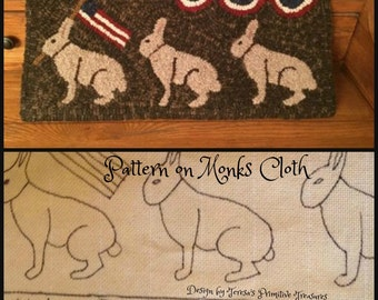 Hooked Rug Pattern Monks Cloth Rabbits on Parade