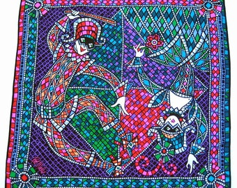Bob Mackie Silk Scarf Harlequin Jester Wearable Art Extra Large 40 Inches Square