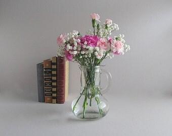 Vintage Pitcher, Glass Pitcher, Juice Pitcher, Glass Decanter, Shabby Cottage Chic Vase, Farmhouse Vase, Rustic Vase