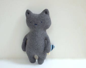 handmade small cat grey Cat doll soft toy stuffed cat upcycled soft cotton knit sweaters kids eco-friendly plush toy bubynoa CAT & BUNNY