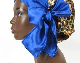 Sweet Sleep Satin Sleep Bonnet-Cap-Charmeuse-Cheetah and Sapphire Blue