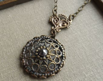 Steel Cut Jewel and Lace Filigree, Antique Button Necklace, Victorian Button, Antique Brass, Timeless Trinkets