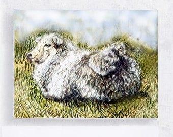 Lamb Art - Lamb Print - Spring Lamb - 5x7 Canvas Print on Wood Block  - Nursery wall Art - Farm Animal - Woodland Wall Art