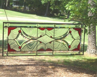 SPECIAL ORDER! Gorgeous Red and Clear Stained Glass and Beveled Window Transom!