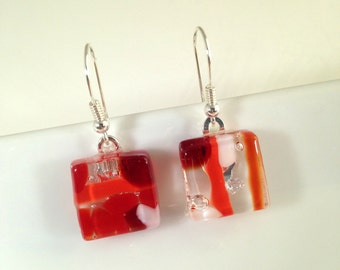 Handmade Sterling Silver Fused Glass Earrings in Gift Box - red and white  - FREE UK SHIPPING