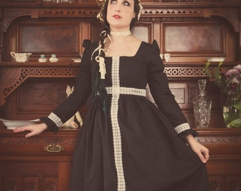 Gloomth Georgette Dress with Cream Lace Cross and Princess Sleeves Sizes XS to 1XL Available