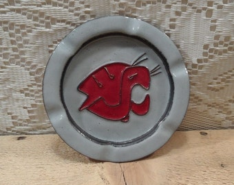 Ashtray Copper Enameled ashtray WSU cougars
