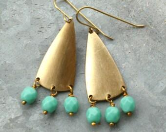 Chandelier Earrings with Turquoise Blue Beads, Long Earrings, Geometric
