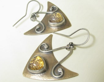 Mixed Metal Earrings, Modern Tribal Earrings, Sterling Silver And Bronze Earrings, Vintage Topaz Glass Earrings, Two Tone Artisan Earrings