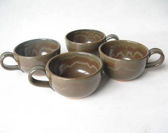 Pottery Cappuccino Cups Set of 4, Set of Handmade Stoneware Cups