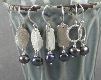 Black pearl earrings, pearl drop earrings, one pair, genuine pearl, pearl dangle earrings, black pearl jewelry, real pearls