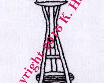 Space Needle Hand Embroidery Pattern, Seattle Space Needle, Seattle, Washington, PDF