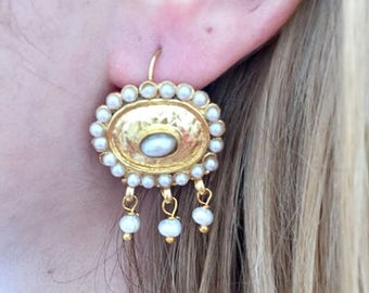 Antique style Pearl brass earring