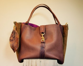 NEW//JOSEPHINE Shopper in Mixed Thick Oil Tanned Brown Leather with Mahogany Brown Horween Leather Accents