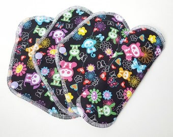 Mama Cloth / Cloth Pads / Pantyliners 8 inch - Set of 4 Black Skeletons & Butterflies Print FREE Shipping