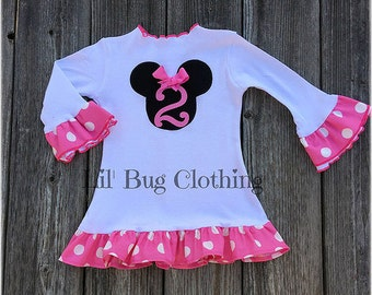 Minnie Mouse Personalized Dress, Bubble Gum Pink Minnie Dress, White Pink Dot Minnie Mouse Dress, Minnie Birthday Girl Dress
