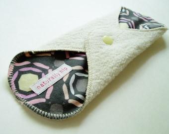 """9"""" Regular Organic Hemp Fleece Cloth Menstrual Pad, Grey Rosette Pink Yellow, Incontinence Pad, Maxi Pad, Reusable Cloth Pad Cloth San Pro"""