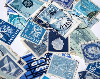 100 Vintage Postage Stamps Shades Of Blue Mixed Media Collage Collectible Paper Art Resin Jewelry Scrap booking