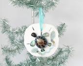 Sea Turtle Ornament, Sand Dollar Turtle, Coastal Christmas Tree Ornament, Lavender Limpet and Seafans, Turtle, Coastal Beach Xmas Decor