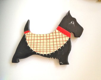 Scottish Terrier Scotty Dog Wood Plaque 80s