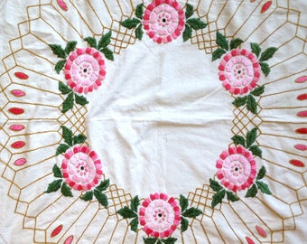 Vintage Embroidered Tablecloth Square Tablecloth Ecru Pink & Green Tablecloth