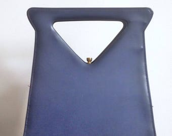 Vintage 50s Navy Blue Purse Handbag Architectural