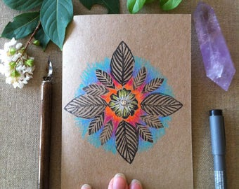 Flower Fire Hand Printed and Hand Coloured Artisan Gift Card on Recycled Kraft Card