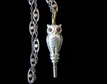 Antique Owl Key Silver Bronze
