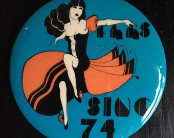 """Vintage Flamenco Dancer Pin, 1974 High School Choir Button, 3"""" Free Shipping"""