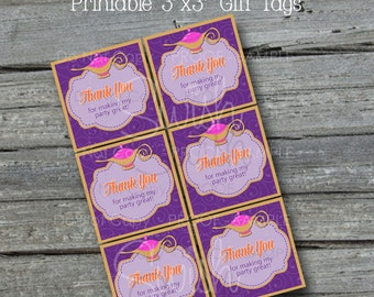 Arabian Genie Lamp Favor Tags | Gift Tags | 3 inch labels | Baby Shower First Birthday Graduation | INSTANT DOWNLOAD
