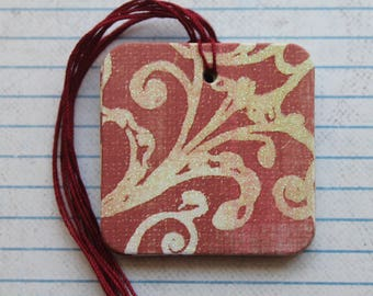 20 Gift tags Distressed red with cream scroll glitter over chipboard...2 x 2 inches