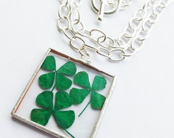 four leaf clover - necklace - pendant - silver - long - green - large - statement - st patricks day - irish