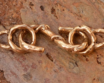 Gold Bronze Artisan S Hook Clasp with Attachment Rings, AD-432 with 339